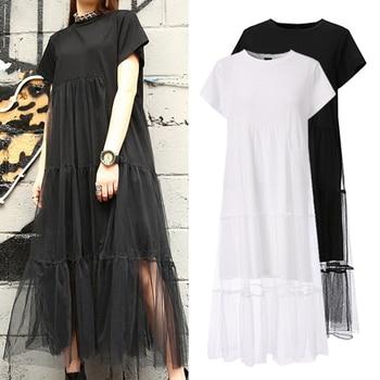 Solid Color Dress Plus Size Fashion Robe 5XL Woman Bohemian Party Vestidos VONDA 2020 Summer O Neck Short Sleeve Beach Sundress