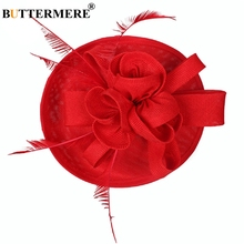 BUTTERMERE Womens Fedora Hats Cotton Linen Red Church Female Vintage Solid Feather Party Elegant Wedding Pillbox Bride Hat