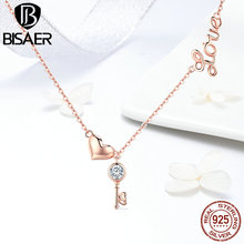 BISAER Silver Necklace 925 Sterling Silver Heart Lock Love Key Chain Choker Necklace Femme Rose Gold Color Jewelry Women GXN292 bisaer 100%real 925 sterling silver rose gold color heart apple sakura shape pendant necklace for women fashion gift hsn313