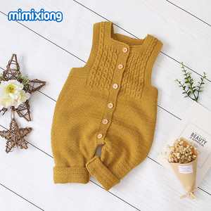 Image 1 - Baby Rompers Knitted Clothes Autumn Sleeveless Newborn Girl Jumpsuits Outfits Solid Children Overalls Soft Toddler Boy Playsuits
