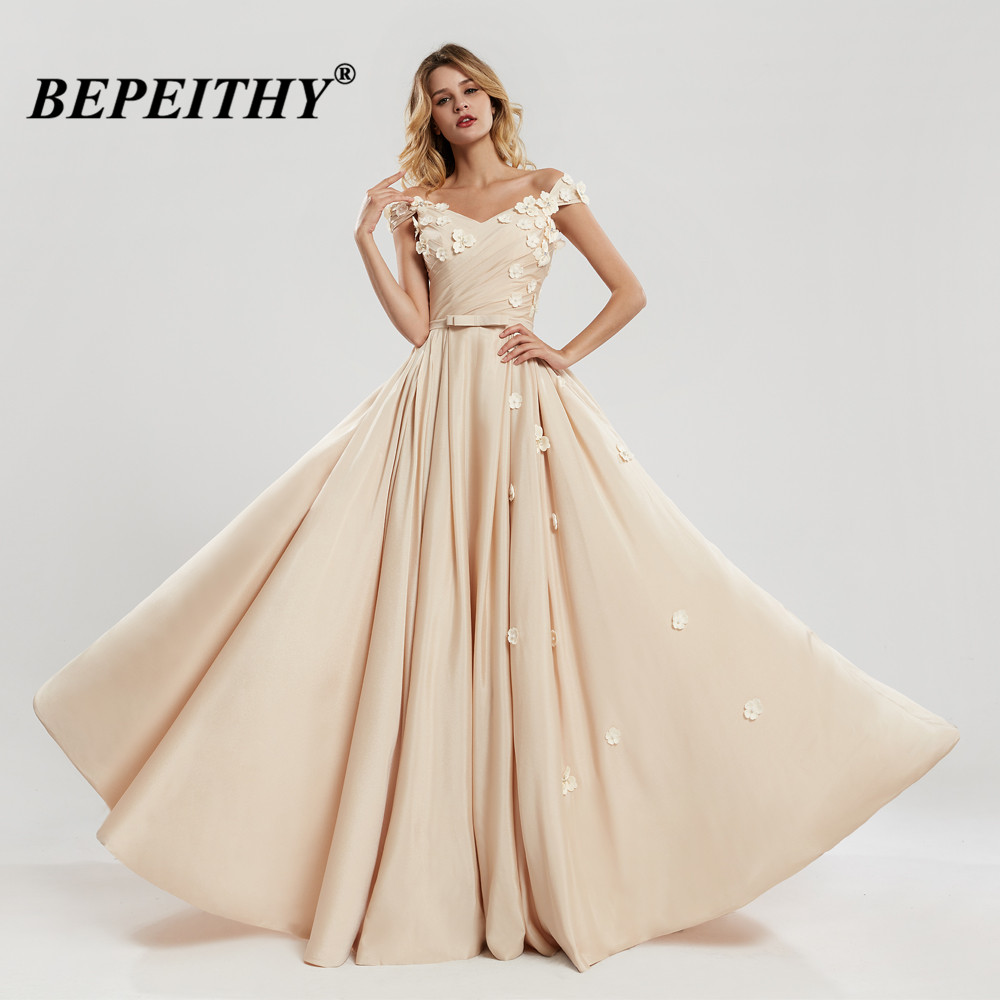 BEPEITHY Off The Shoulder Long Evening Dress With Flowers Vestido Longo Champagne Dress For Prom Party Robe De Soiree 2020