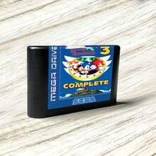 سونايد 3   EUR التسمية flash kit MD بطاقة الذهب ثنائي الفينيل متعدد الكلور ل Sega نشأة megadve لعبة فيديو وحدة التحكم