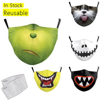 Child Mask Cartoon Print Mouth Mask Washable Reusable Face Masks for Children Mask Outdoor Windproof Mouth Cover Face Mouth Caps image
