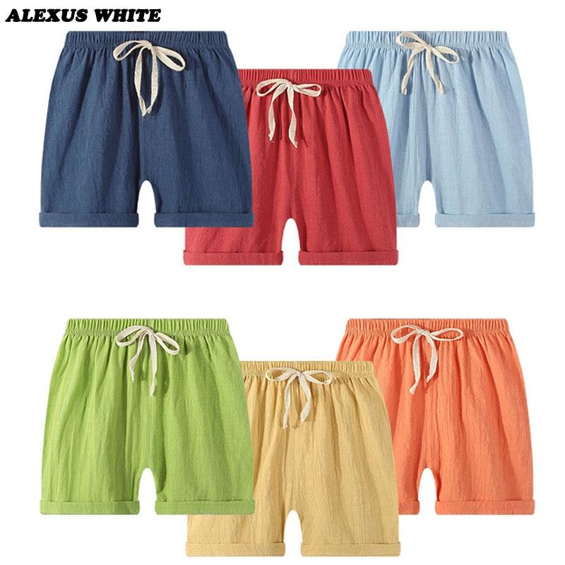 Linen Straight Pants 2020 Summer Children Kids Boy Girl Casual Shorts Elastic Waist Pants Clothes Beach Infant Shorts LGKL33