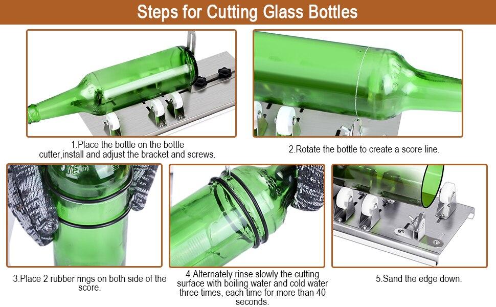 10pcs γυάλινο μπουκάλι κόφτης diy μηχανή κοπής μπύρα κρασί ουίσκι αλκοόλ σαμπάνια χειροποίητα γάντια γυαλιά αξεσουάρ εργαλειοθήκη msow
