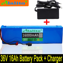 Alalito 36V battery 10S4P 16Ah battery pack 500W high power battery 42V 16000mAh Ebike electric bicycle BMS+42v charger(China)