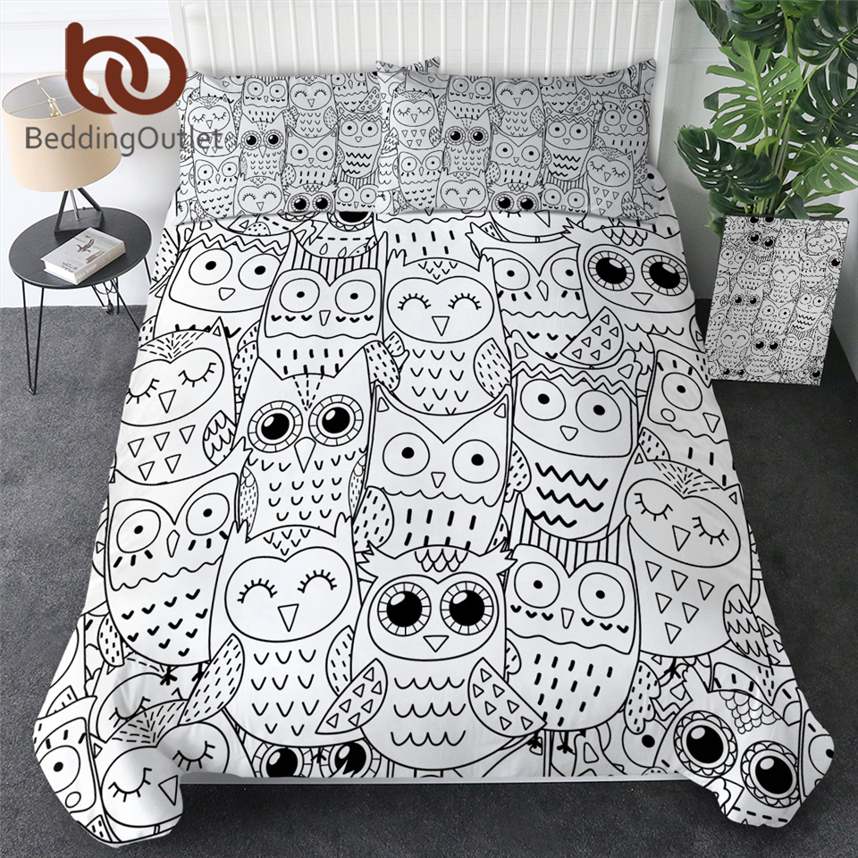 BeddingOutlet Owl Bedding Set Cartoon Bird Feather Kids Bed Set Perched Owl Duvet Cover 3-Piece Black White Comforter Cover Twin