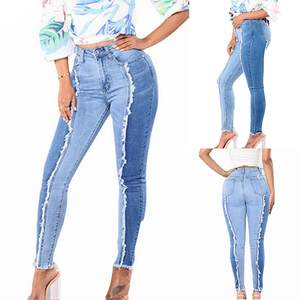 Stretch Jeans Tassel Skinny Zipper High-Waist Plus-Size Women Pants Leggings Splice Slim