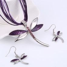 ZOSHI Leather Rope Jewelry Sets For Women Enamel Dragonfly Pendant Necklace Earrings Sets Wedding Bridal Jewellery Sets