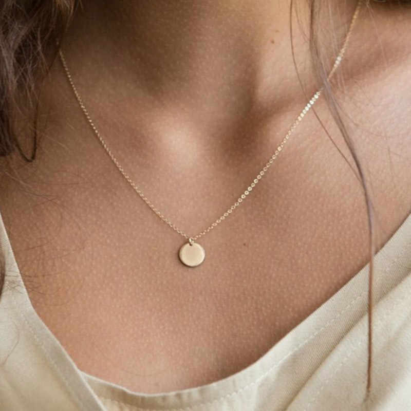 Fashion Popular Ladies Gold Code Stainless Steel Necklace Round Pendant Necklace Female Gold Necklace Fashion Necklace 2019