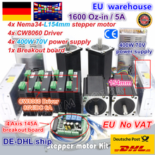 цена на DE ship 4 Axis NEMA34 1600oz-in torque stepper motor Dual shaft &CW8060 driver 6A 80V/DC CNC controller Kit for Large CNC Router