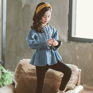 Image 3 - Baby Blouse Spring Fall 2020 Children Jeans Coat Big Girls Clothes School Shirts for Girls Button Down Tops and Blouses 6 8 12Y