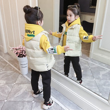 Winter Baby Girl Warm Clothing Sets Childrens Set Girls 3Pcs Kids Tracksuit  Hooded Coats+Vests+Pants Sport Suit