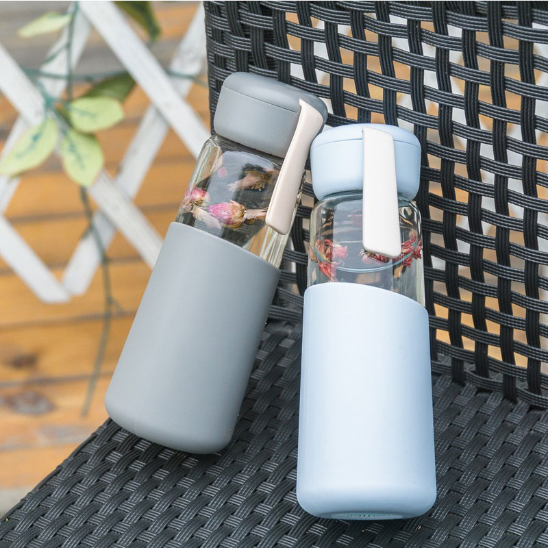 400ml Juice Glass Water Bottle with Silicone Cover Portable Outdoor Travel Sport Water Bottles Leakproof Milk Coffee Mug Tea Cup