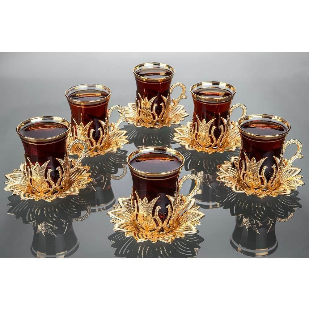 Ottoman Anatolian Arabic Turkish Green Tea Cups Handmade Authentic Gold Silver And Saucers Set For Six People Made In Turkey