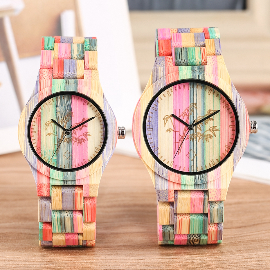 Lover's Watch Carving Plant Pattern Wooden Watch Fashion Colorful Full Wooden Bangle Clock Male Quartz Watch Couple Luxury reloj