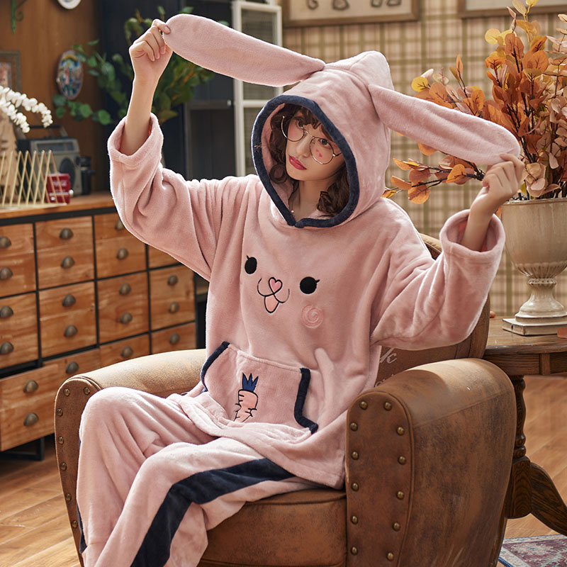 Perfering Two Pieces Shirts + Pants Woman Flannel Winter Pajama Sets Pink Cute Cartoon Animal Pajamas Thick Sleepwear Homewear