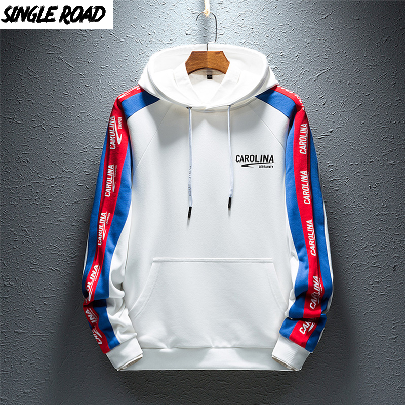 SingleRoad Men's Hoodies Men Spring Japanese Streetwear Side Striped Fashion Hip Hop Harajuku White Hoodie Men Sweatshirt Male
