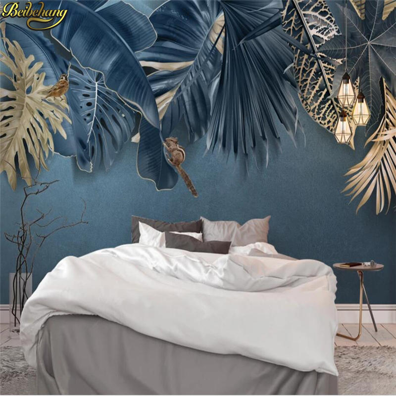 Beibehang Custom 3d Wallpaper Nordic Minimalist Fresh Tropical Plant Background Wall Papers Home Decor Mural Papel De Parede