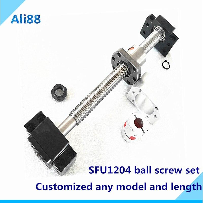 SFU1204 vis à billes roulées C7 | SFU1204, usiné + écrou à bille + écrou + support à embout + coupleur RM1204, pièces