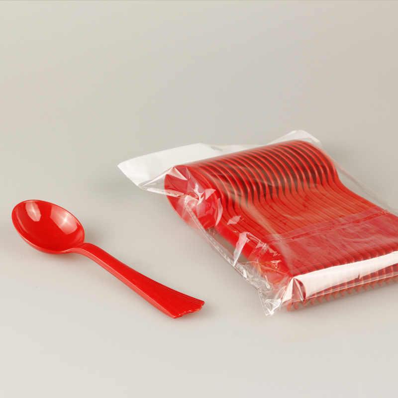 Cuchara sopera vajilla de plástico roja festiva para boda, cuchara de plástico desechable de alta calidad, cuchara roja para boda, fabricantes al por mayor
