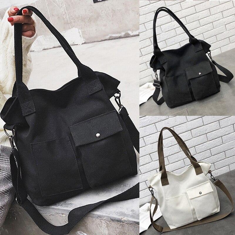 SHUJIN Women Bag Retro Handbags Soft Canvas Bag Large Capacity Women Shopping Bag Casual Hasp Ladies One Shoulder Tote Bags