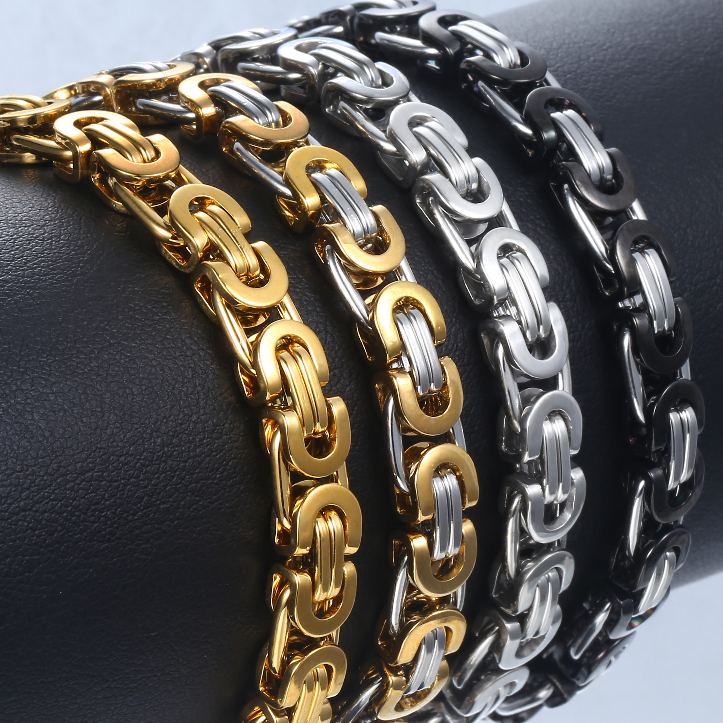 Basic Byzantine Link Chain Bracelet for Men Boy Stainless Steel Gold Black Silver Color Bracelets Gothic Rock Wristband KBB1A