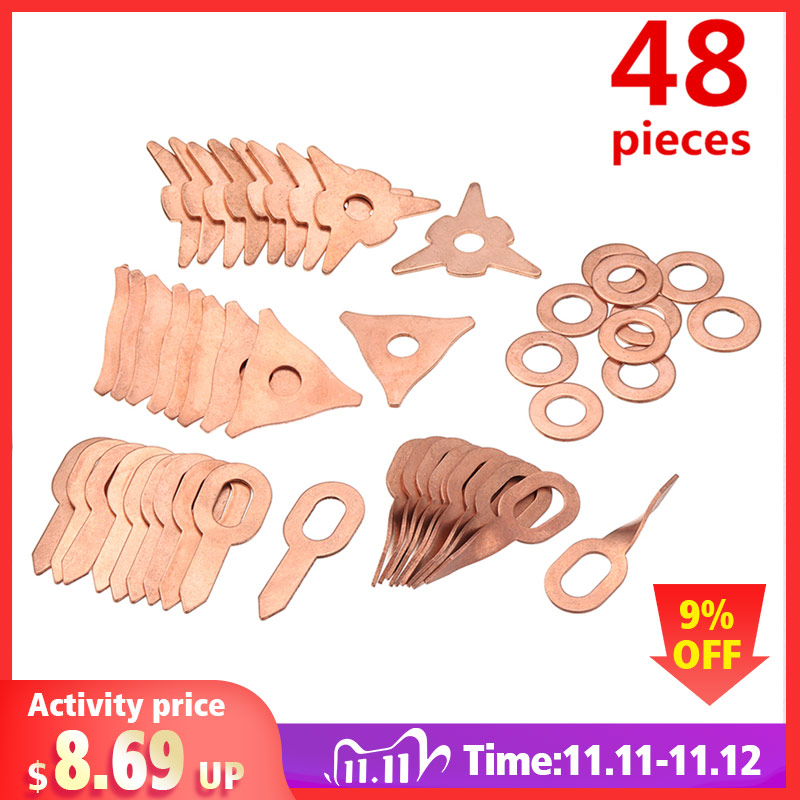 48Pcs stud welding kit accessories straight twisted dent pulling rings hook washer round star pad uni spotter starter kit