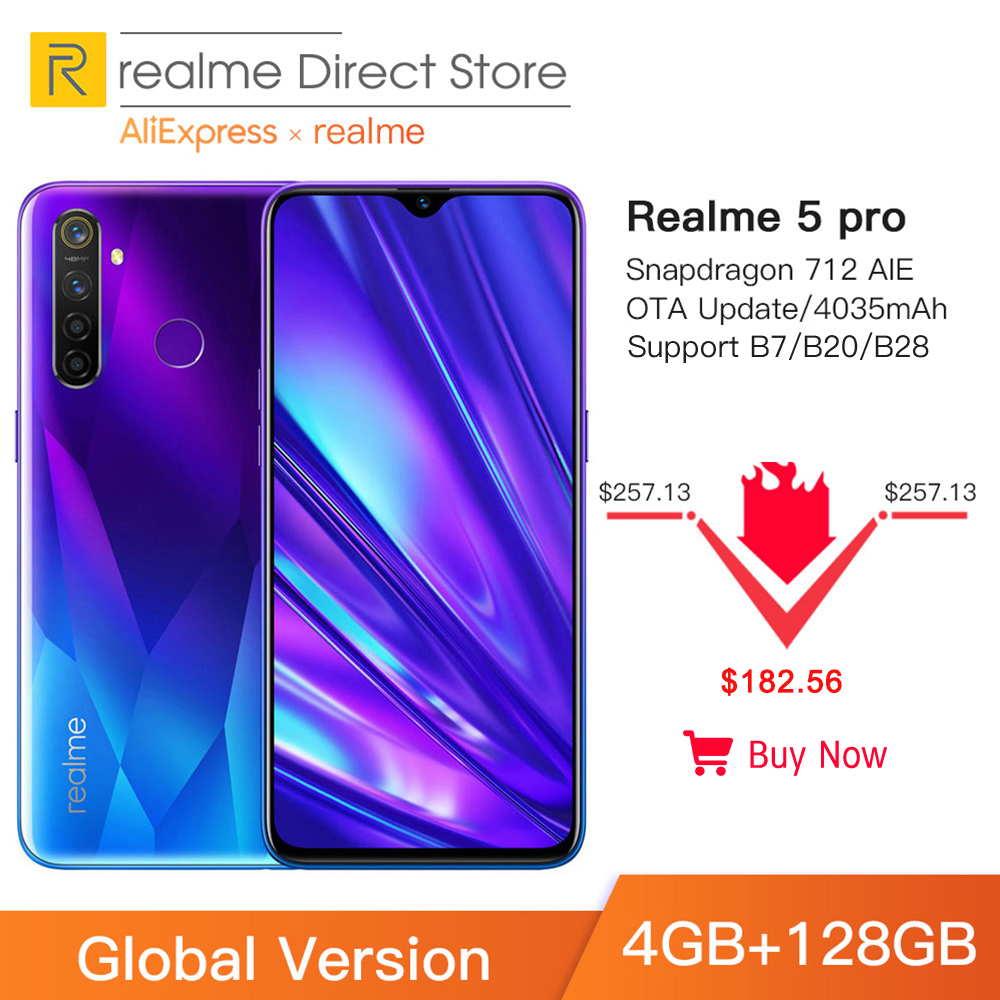 Фото. Глобальная версия Realme 5 Pro 4 Гб ОЗУ 128 Гб мобильный телефон Snapdragon 712AIE 48MP четырехкамер
