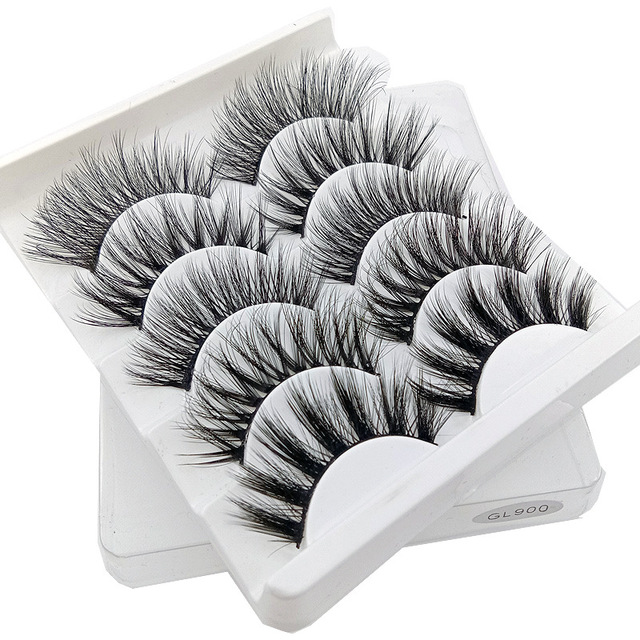 5 pairs 3D Mink Eyelashes Natural False Eyelashes Lashes Soft Fake Eyelashes Extension Makeup Tools Wholesale 2