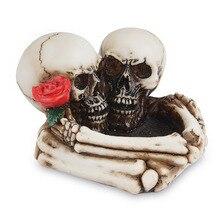 Statue Sculpture Skull Heymamba Rose Office-Desk-Decoration Home-Bar Halloween Ashtray