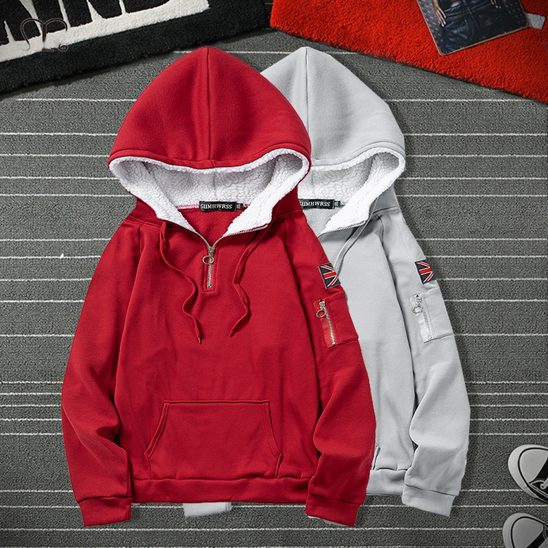 Harajuku Hoodies Men Autumn Winter Flag Hip Hop Casual Sweatshirts Male Red Black Grey Fashion Mens Streetwear Coat Sweat Homme