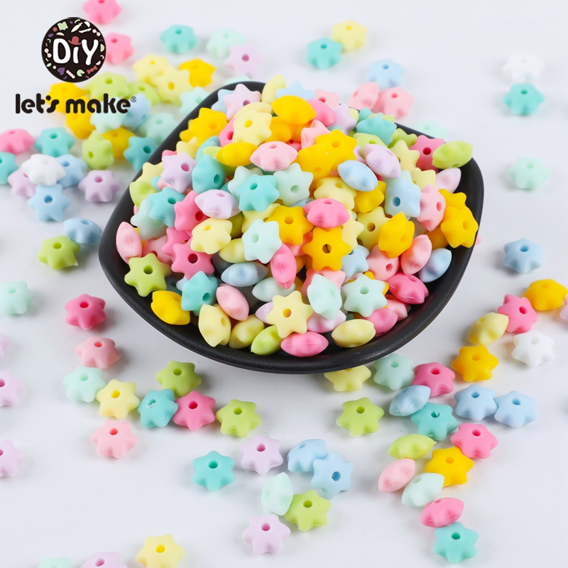 Let'S Make 200Pcs Mini Six-Pointed Star Silicone Teether Baby Oral Care Teething Beads For Rattle Silicone Beads For Boys