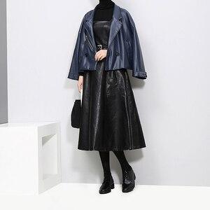 Image 5 - 2020 styl angielski kobiety Faux Leather czarny Midi Sexy bez rękawów sukienka z PU pas linii Spaghetti pasek eleganckie sukienek 3014