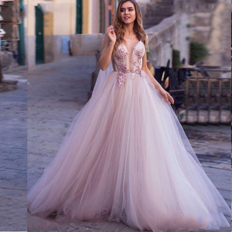 2020 Modest Design 3d Flowers Wedding Dresses Lace Appliqued Light Purple Court Train Boho Wedding Dress Plus Size Bridal Gowns Wedding Dresses Aliexpress