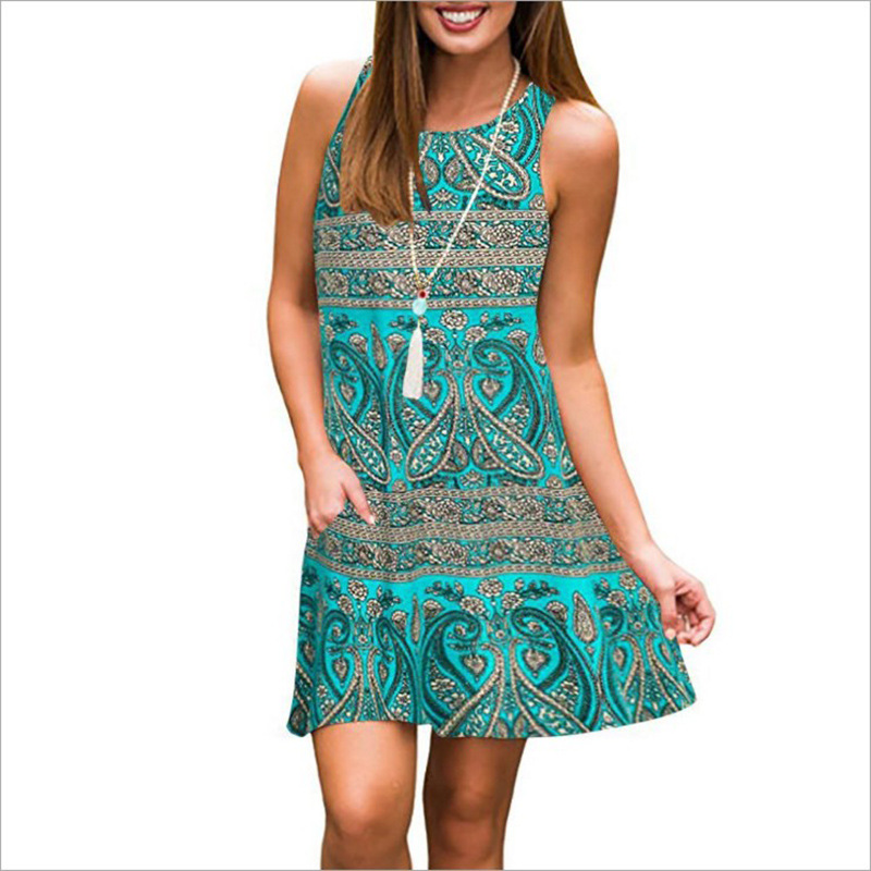 2021 spring and summer new women's printed sleeveless round neck loose size dress women