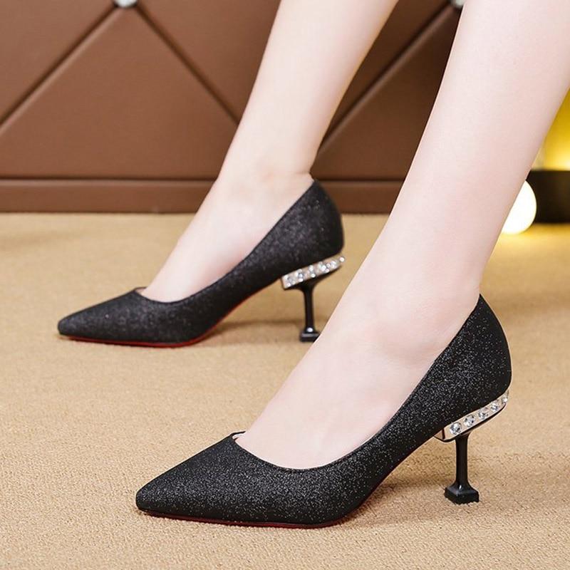 Crystal Heels Pumps Women Wedding Shoes Bridal Silver Pointed Toe Bling High Heels Ladies Sequined Cloth Boat Shoes Black 8518N 2