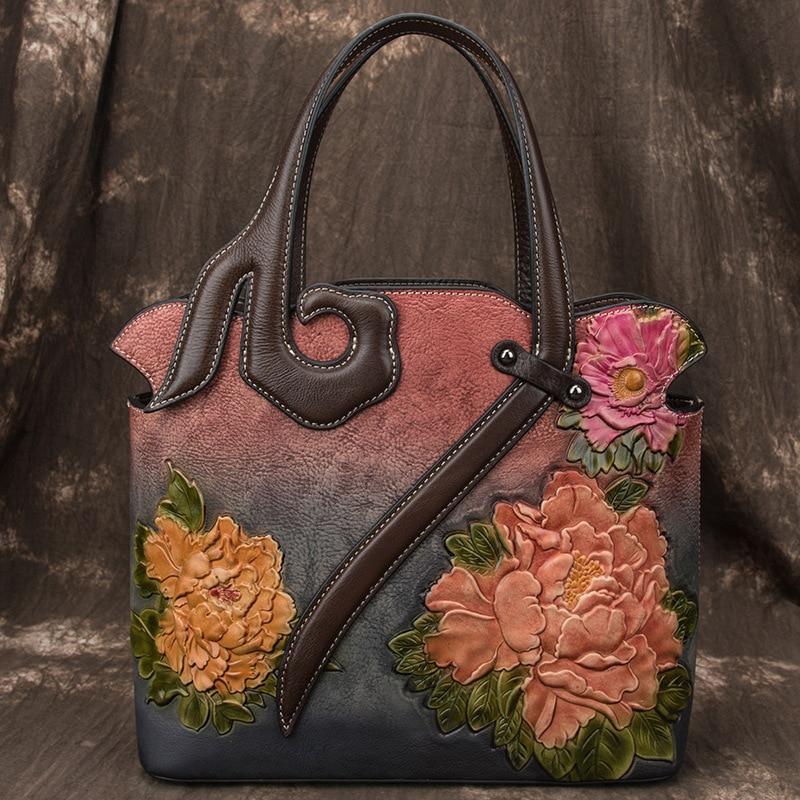 2020 New Retro Luxury Handbags Women Bags Designer Genuine Leather Handmade Embossing Totes Shoulder & Crossbody Bags