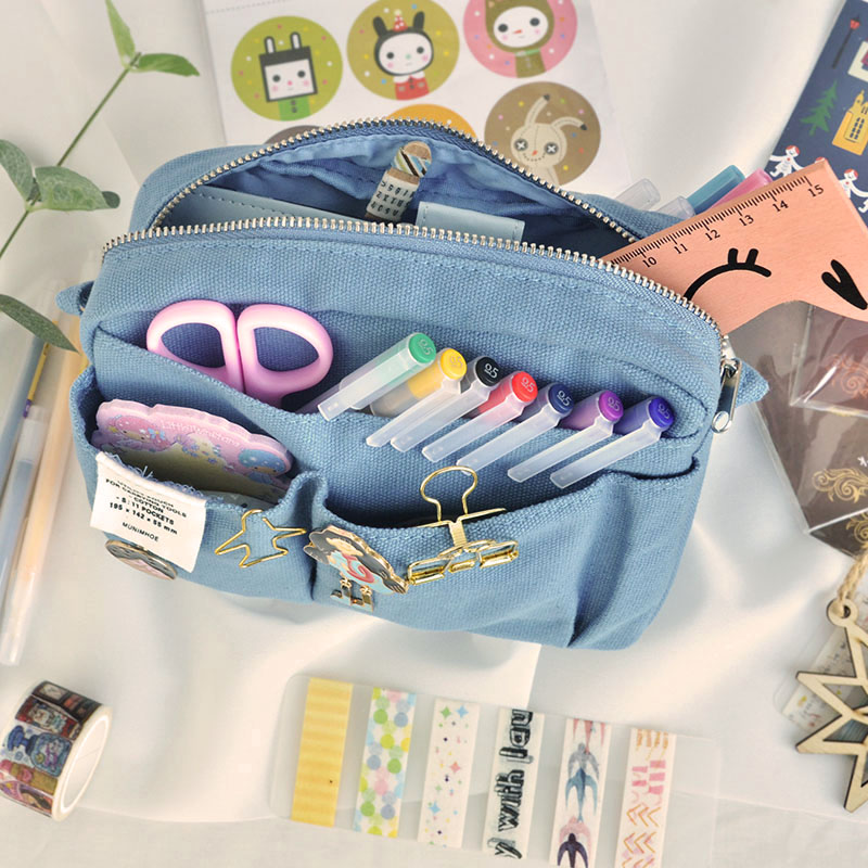 INS Fashion Make Up Style Big Zipper Pencil Bag Yellow Blue Black Cool 2020 Stationery Gift Pencil Pounch Gift Free Shipping