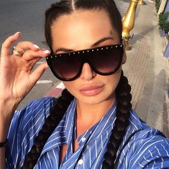Luksusowe ponadgabarytowe diamentowe okulary przeciwsłoneczne damskie modne unikalne duże oprawki okulary okulary przezroczyste soczewki Trend okulary przeciwsłoneczne damskie okulary tanie i dobre opinie Reboto Kobiety Pilot Dla dorosłych Poliwęglan Gradient UV400 48mm XL153 56mm