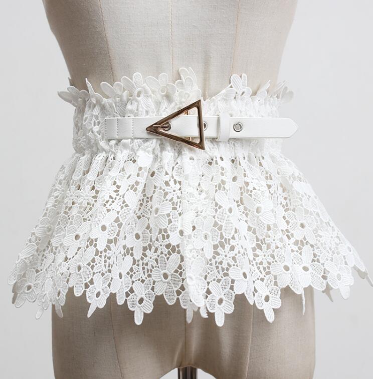 Women's Runway Fashion White Black Elastic Lace Cummerbunds Female Dress Corsets Waistband Belts Decoration Wide Belt R467