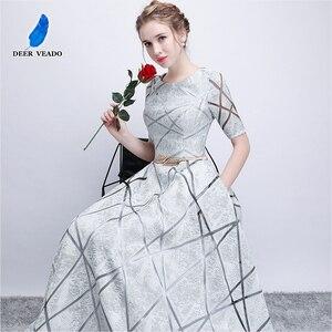Image 4 - DEERVEADO YS406 긴 댄스 파티 드레스 정장 드레스와 짧은 소매 댄스 파티 드레스 여성 이브닝 드레스