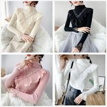 Мода, Осень-зима, Базовый стиль, Вязанная женская водолазка, длинный рукав, бисер, оборки, пуловер, трикотаж, женские топы SL162