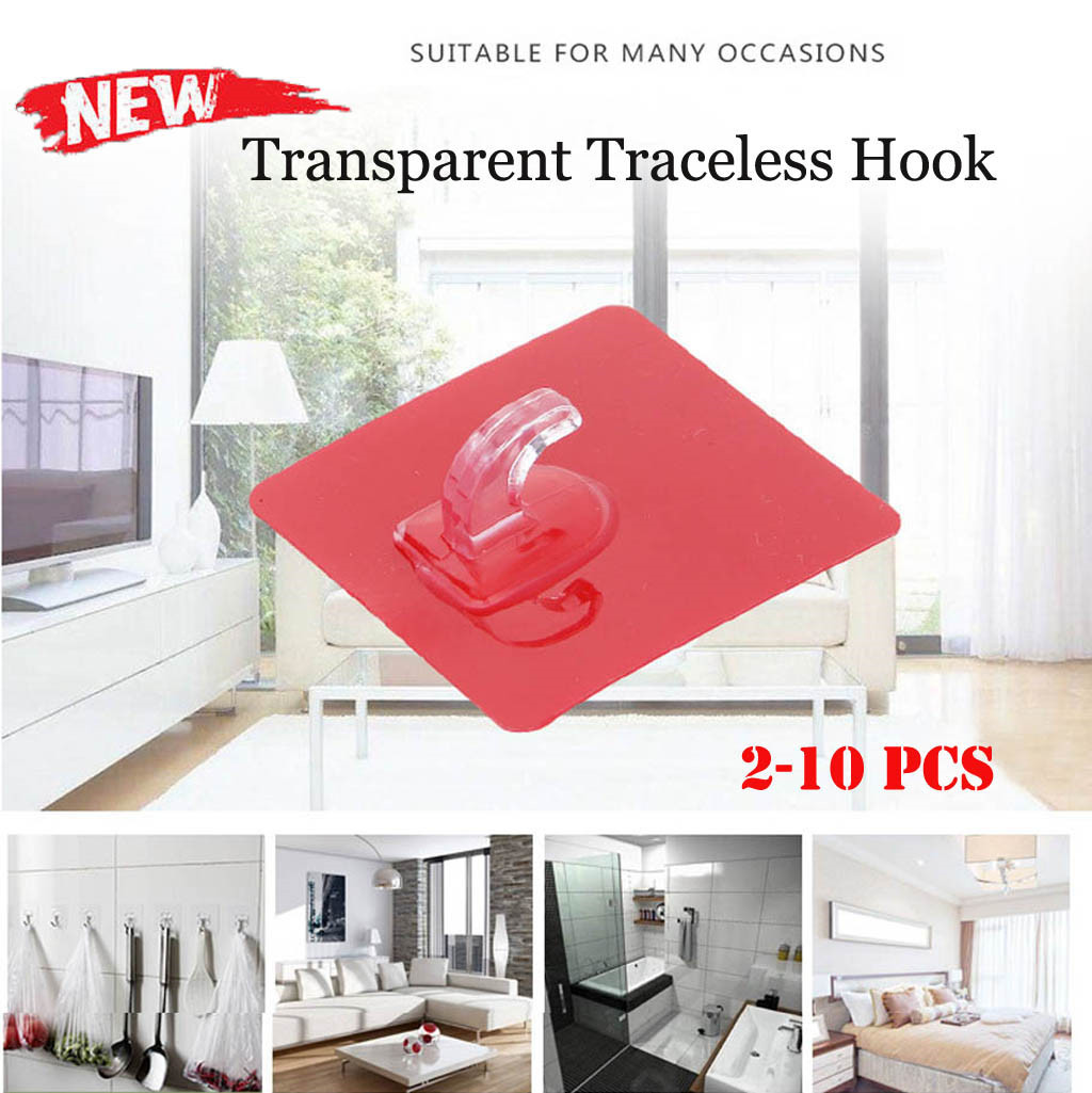 2Pcs Anti-skid Hooks Reusable Transparent Wall Hanging Hooks