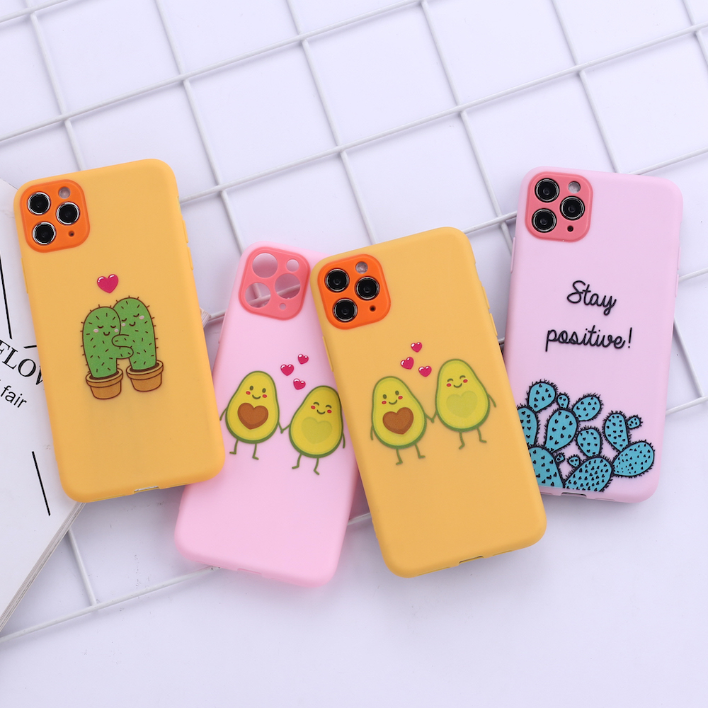 Cactus Avocado Lover Heart Camera Protection Soft Silicone Phone Case Funda For iPhone 11 X XS XR Pro Max 6 7 7Plus 8 8Plus image