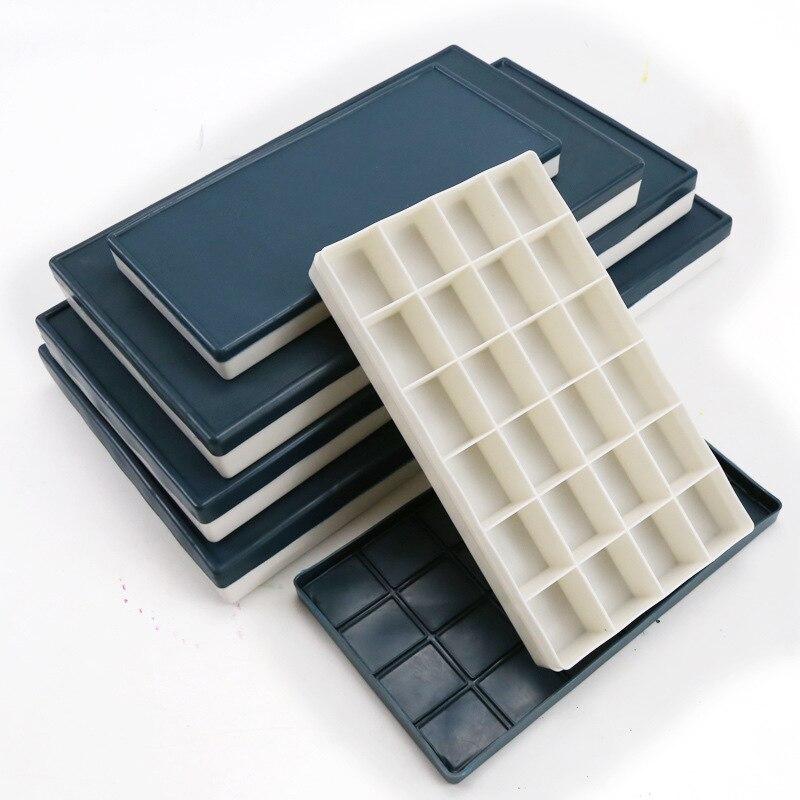 10/24/36/48/68 Grid Rubber Soft Cover Palette Color Box Multi-grid Leakproof Pigment  Box Art Supplies