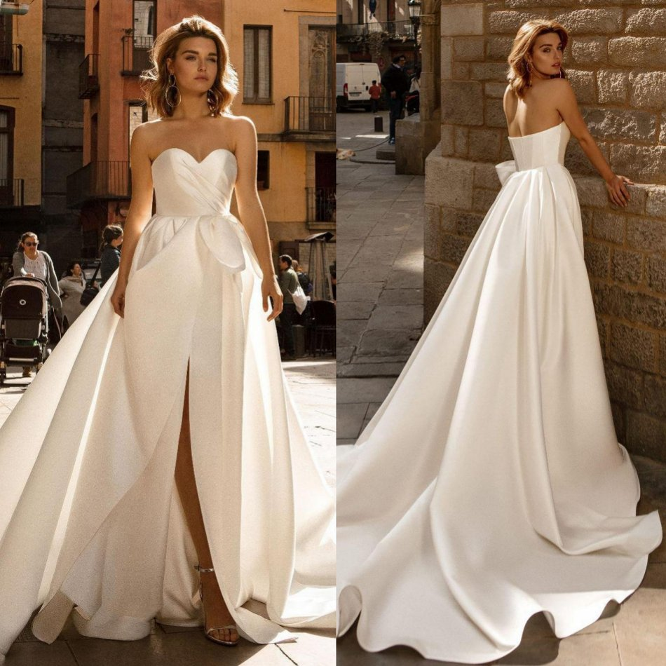 2020 Designed Wedding Dresses Sweetheart Backless Satin Bridal Gowns Custom Made Split Sweep Train A-Line Wedding Dress
