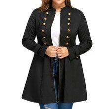 Fashion Women Casual Jacket Coat Plus Size Solid Double Breasted Flare Long Windbreaker Coat  Stand Long Sleeve Jacket Clothing