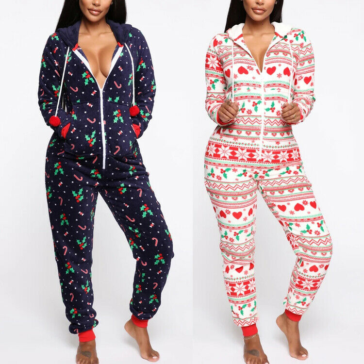 Women Long Sleeve Zipped Hooded Long Sleeve Soft Nightwear Warm Christmas Pajamas Santa Sleepwear Xmas Hoodie Long Pajamas