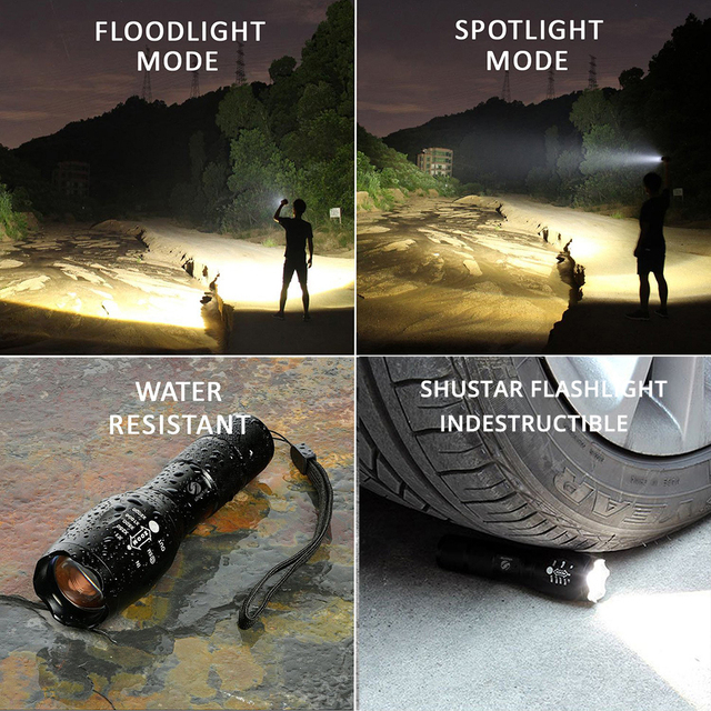 Shustar Led flashlight Ultra Bright torch L2/V6 Camping light 5 switch Mode waterproof Zoomable Bicycle Light  use 18650 battery 6